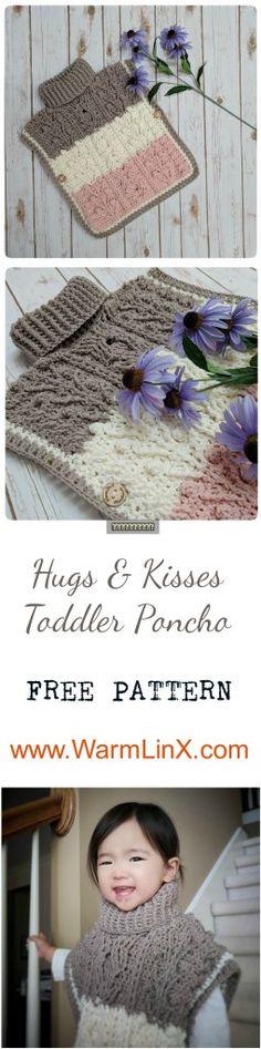 "Hugs & Kisses Toddler Poncho ""Neapolitan ice cream"" Crochet Pattern – WarmLinX"