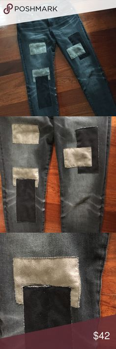A&F Signature Collection Super Skinny Jeans Black patchwork super skinny jeans. In almost new condition - worn four times! See pictures for closer view of the distress on the jeans. Jeans are from the signature collection. W 28/ L 30 Abercrombie & Fitch Jeans Skinny