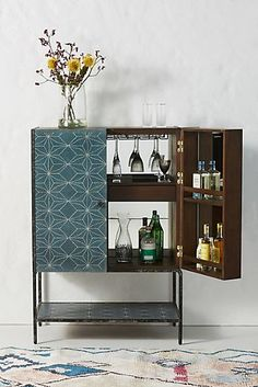 bar cabinet with aqua blue painted stencil pattern. / sfgirlbybay // interior design / home decor / inspiration Wood Bar Cabinet, Bar Cabinets, Cabinet Ideas, Modern Bar Cabinet, Entryway Cabinet, Modern Cabinets, Kitchen Cabinets, Ivar Regal, Hanging Furniture