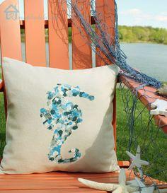 Maker Crate - Thumbprint Seahorse Pillow