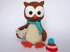 Owl Helga with Mouse - €4.00 by Veronika Maskova of Dione Design  Owls Part 1 - Animal Crochet Pattern Round Up - Rebeckah's Treasures