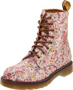 Dr. Martens Pink Floral Boots  I always wanted patterned Docs...the 15 year old girl in me is loving these sick!