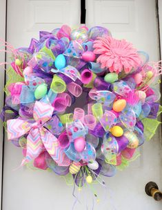 HUGE SPRING Wreath RAZ Easter Wreath Deco por SparkleWithStyle