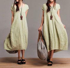 Comfort Linen Maxi Dress / Unique Summer green round von dreamyil, $108.00