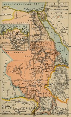 Map of British-controlled Egypt and Anglo-Egyptian Sudan in 1910
