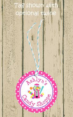 15 Candy Shop birthday party favor thank you tags stickers bubble gum gumball.
