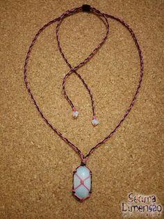 Colar Macramê Opalina (Pedra da Lua) #macrame #macramê #colar #necklace #opalina #pedradalua #moonstone