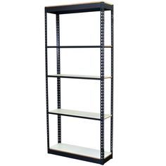 84 in. H x 36 in. W x 24 in. D 5-Shelf Steel Boltless Shelving Unit with Low Profile Shelves and Laminate Board Decking, Powder Coated Steel Color Gray