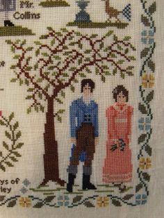 Detail of Darcy & Lizzie Bennett in Pride & Prejudice Jane Austen sampler cross stitch point de croix. willowtreestitcher.blogspot.com