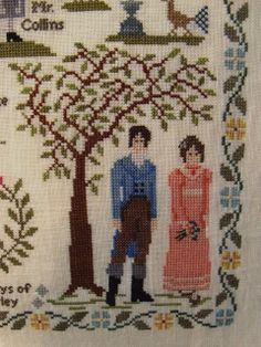 Detail of Darcy & Lizzie Bennett in Pride & Prejudice Jane Austen sampler cross stitch point de croix. willowtreestitcher.blogspot.com