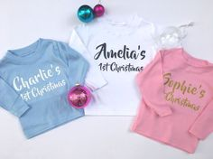 PERSONALISED 1ST CHRISTMAS long sleeve T-SHIRTS baby clothing blue, white, pink