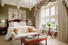 Enjoy the refined luxury and relaxing comfort of your own spacious suite. Book your 5 star one bedroom suite at Adare Manor today! Castle Hotels In Ireland, Adare Manor, Stay In A Castle, Castle Rooms, Bedding Master Bedroom, Queen Bedding, White Bedding, Bedroom Decor, Diy Platform Bed
