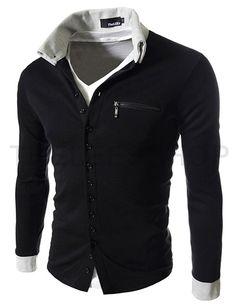 (GD62-BLACK) Slim Fit 2 Tone Button Cardigan