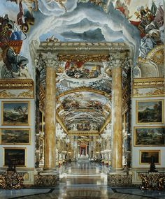 Palazzo Colonna, Rome -  The Baroque gallery was built between 1645 and 1665  #Baroque #Interiors