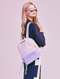 Skinnydip Lilac Grey Fur Backpack