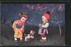 old postcard: Künstler-AK E.Colombo: Geisha mit Hund, vor dem sich der Chinese erschreckt