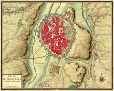 Plan de Bruxelles provenant de la collection de cartes réunies pour Louis XIV lors de la guerre de succession d'Espagne
