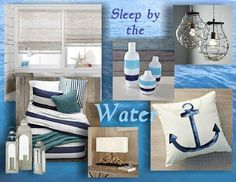 Coastal inspired bedroom design. Mood board created using www.sampleboard.com #interior #bedroom #sea