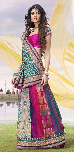 Turquoise Banarsi Jacquard Lehenga Style Saree-The kamarband on waist makes it complete Pakistan Fashion, India Fashion, Asian Fashion, Indian Attire, Indian Ethnic Wear, Indian Style, Lehenga Style Saree, Anarkali, Pink Lehenga