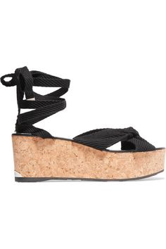 Jimmy Choo - Norah Knotted Canvas Wedge Sandals - Black - IT39.5
