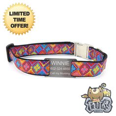 2015 Dog Collar Colorful Geometric Flower  Personalized Dog