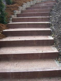 These stairs were made from pressure treated lumber and filled with stabilized decomposed grante. Photo by Doug Kalal, taken at a client's g...
