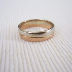 ESTATE Artisan Crafted 14K Rose and White Gold Wedding Band Engagement Ring Womens Mens or Unisex via Etsy