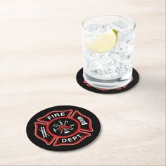 Fire Department Firefighter Badge Red Round Paper Coaster   dalmation and firefighter, wedding firefighter, firefighter womens #onedaycloser #firewife #firegirlfriend, back to school, aesthetic wallpaper, y2k fashion Fire Department, White Elephant Gifts, Holiday Cards, Barware, Badge, Coasters, Art Pieces, Kitchen Gifts, Kitchen Ideas