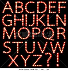 Set of broadway light bulb letters isolated on a black background by FoolFont, via Shutterstock