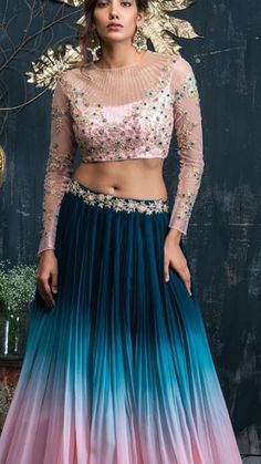 Moonlit Memoirs Green pink Ombr pleated skirt with pink hand embroidered full sleeves blouse! WhatsApp or email to info com for more information is part of Lehenga blouse designs -