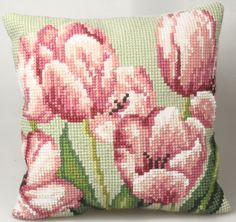 Cross Stitch Kits Collection d'Art Tulipe A Droite Pillow - Needlepoint Kit. This Needlepoint Kit contains full color design printed on Cross Stitch Cushion, Cross Stitch Fabric, Cross Stitch Baby, Cross Stitch Flowers, Cross Stitch Kits, Cross Stitch Designs, Cross Stitching, Cross Stitch Embroidery, Embroidery Patterns