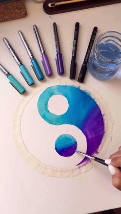 Small Canvas Art, Diy Canvas Art, Mandala Art Lesson, Art Drawings Sketches Simple, Pen Art, Doodle Art, Art Lessons, Watercolor Art, Art Projects