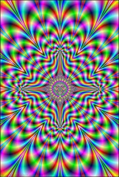 Psychedelic fractals - psychonautic visual experience of psychedelic geometry. Vibrant psychedelic theme, high quality renders, large size prints available Illusion Kunst, Illusion Art, Art Optical, Optical Illusions, Psychedelic Art, Op Art, Fantasy Kunst, Fantasy Art, Black Light Posters