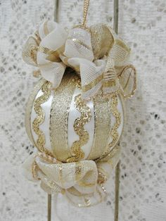 Handmade Beaded Christmas Tree Ornament Gold Bows, Rick Rack & Ribbon picclick.com