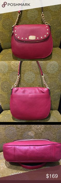 """NWT Michael Kors Bedford Stud 100% Authentic! Brand New with tag. Retail $348 not including Tax. Every picture shows authentic and detail. Style number: 38H6Y1L2L Colour: cherry 🍒  Approximately Size: 11""""X3.5""""X9.5"""" Handle:9"""" Adjustable Strap included Thank you shipping in my closet any questions please let me know. Welcome for offers. Fast shipping, come from pet and smoke free home. Michael Kors Bags Shoulder Bags"""