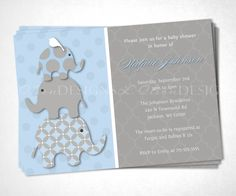 Stacked Blue Elephant Card DIY Printable File. Your baby shower should be special and unique! Our custom blue and gray Stacked Elephants are an adorable way to make sure your guests never forget this occasion! #handmade #BabyShower #AmericanMade #CustomizedBabyShowerInvites www.aftcra.com