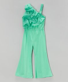 Another great find on #zulily! Turquoise Ruffle Jumpsuit - Infant, Toddler & Girls by Blossom Couture #zulilyfinds