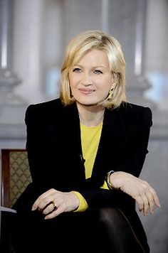 Diane Sawyer, second woman to host a evening news program, alone. First being Katie Couric.