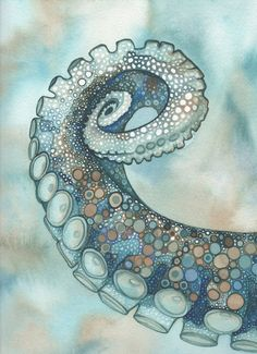 Octopus tentacle arm, hand painted detailed watercolour artwork in whimsical earth tones