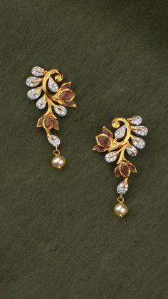 AZVA diamond earrings in gold with enamel flowers Gold Jhumka Earrings, Jewelry Design Earrings, Gold Earrings Designs, Gold Jewellery Design, Diamond Earrings, Gold Jewelry Simple, Gold Rings Jewelry, Antique Jewelry, Antique Gold
