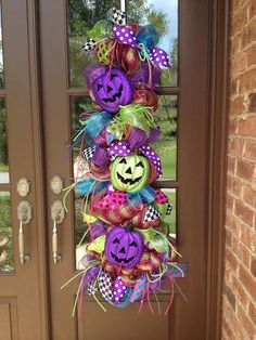 Hey, I found this really awesome Etsy listing at https://www.etsy.com/listing/202088187/halloween-pumpkin-swag-halloween-wreath