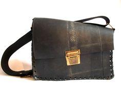 Lisa Handbag by Katcha Bilek - Ethical, Upcycled, black, rubber - Eco fashion handbag.