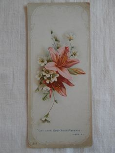 Small Victorian Religious Card Children Obey Your Parents Eph 6 1 Lillies | eBay