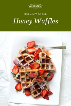 Breakfast waffles! When you've got a little bit of extra time in the mornings, these Belgium Style Honey Waffles are something a little decadent to satisfy your sweet tooth. Top with your favourite fruit (of course, ours are strawberries) and devour.   Click the image to download this recipe from our FREE 100 recipes eBook. Breakfast Waffles, Breakfast In Bed, Vegetarian Tart, Pulled Lamb, Bed Recipe, Lunch Recipes, Mornings, Strawberries, Free Food
