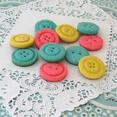 Oh So Cute Baby Shower Cookies - Cute as a Button Theme - Blue, Yellow and Pink Cookie Ideas