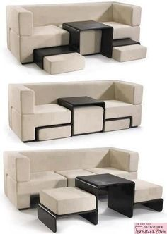 Awesome couch with interchangeable pieces to make food rests, side tables, etc.