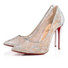 ec0358ec3e52 Follies Lace 100 Version Silver Dentelle Lurex - Women Shoes - Christian  Louboutin