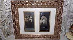 ANTIQUE PHOTOS RELATIVES FAMILY GOLD FANCY WOOD FRAME #Victorian