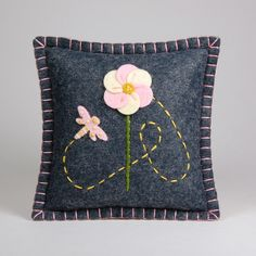 The dragonfly is too cute!!!  Wool Felt Pincushion / Small Pillow - Pink Dragonfly & Flower Hand Embroidered on Gray felt, via Etsy.