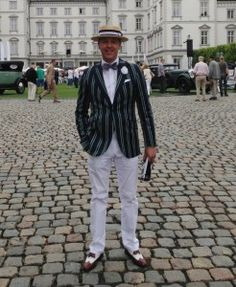 A classic 1920s style! Boater hat, boating blazer and spectator shoes #boaterhat #boater #hat #boating #blazer #boatingblazer #spectatorshoes #spectator #shoes #boutonniere #bowtie